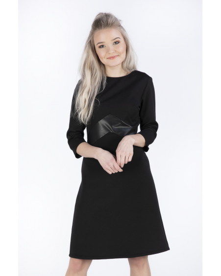 TRIO BLACK SUEDE DRESS