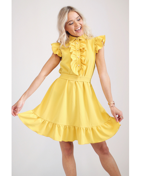 YELLOW FRILL DRESS