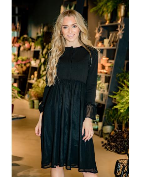 BLACK FLARE CHIFFON DRESS