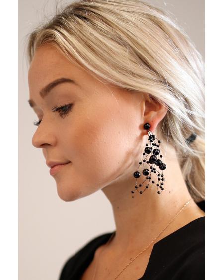 BLACK PEARL CLUSTER EARRINGS