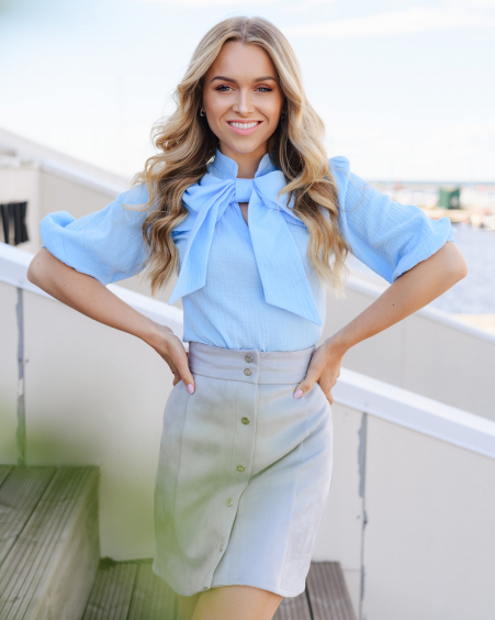 BIG BOW LIGHT BLUE QUARTER SLEEVE BLOUSE
