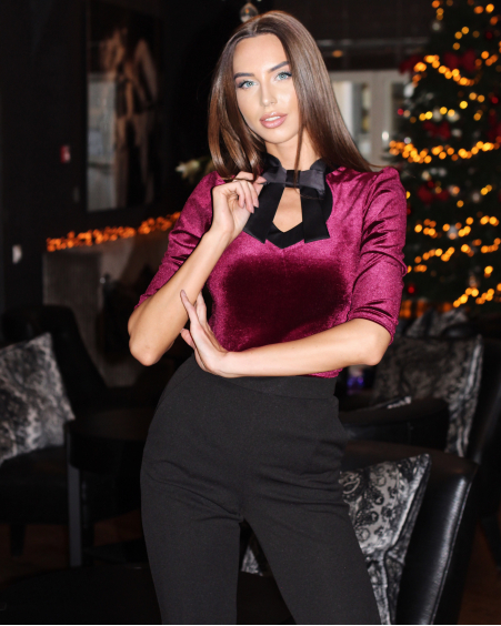 BORDEAUX DOLLABLE VELVET SHIRT