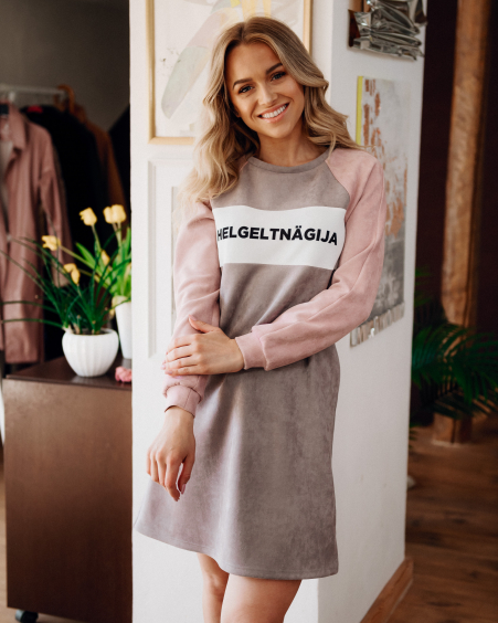 HELGELTNÄGIJA PINK & PLUM PASTEL SUEDE SWEATER DRESS