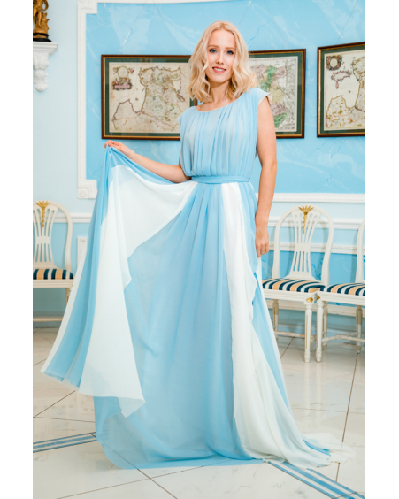 BLUE WHITE DREAMY MAXI DRESS