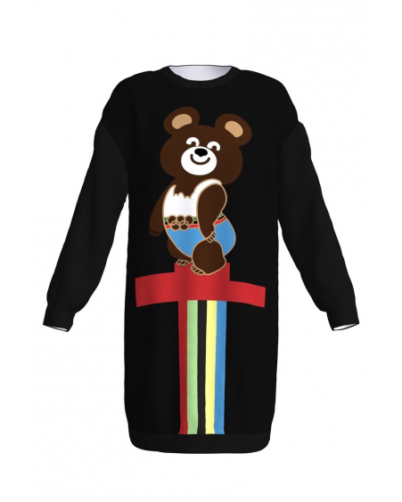 OLYMPIC BEAR BLACK SWEATER-DRESS