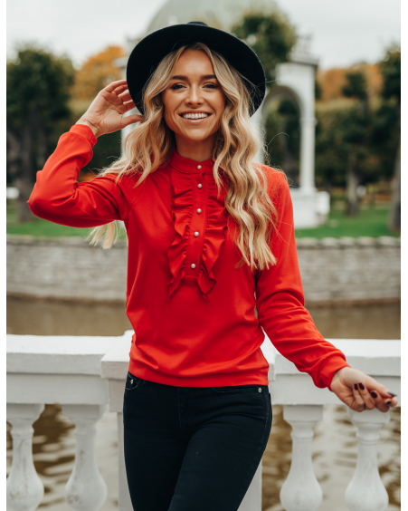 RED FRILL SWEATER