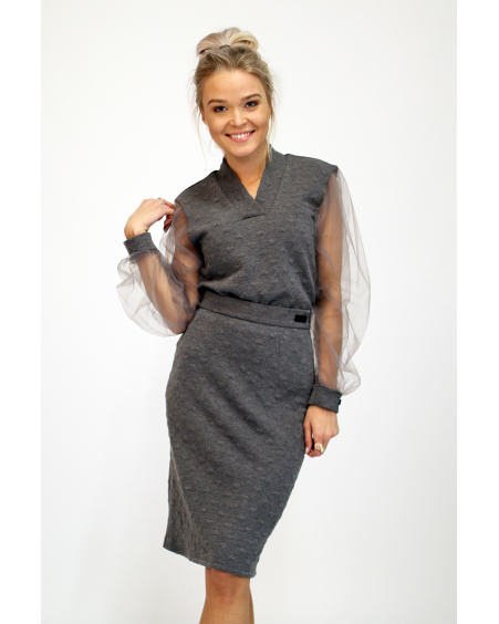 GREY HEARTS KNIT SKIRT