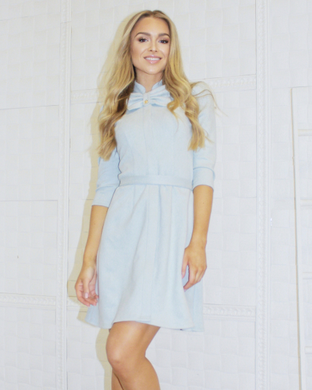 LIGHT BLUE SUEDE BOW DRESS