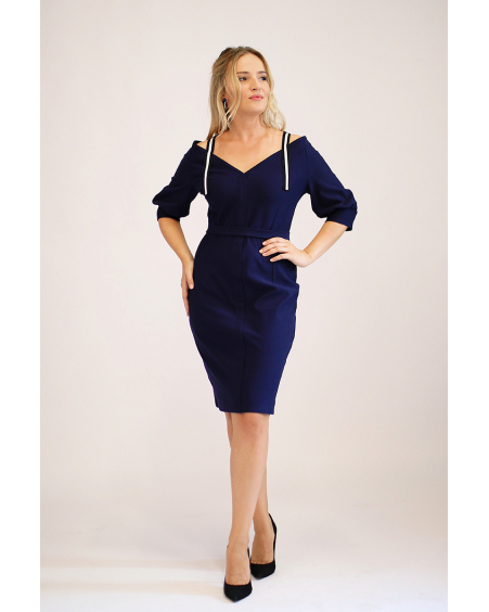 NAVY WIDE V-NECK DRESS