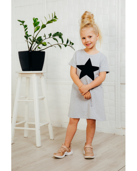 BLACK STAR GREY KIDS DRESS