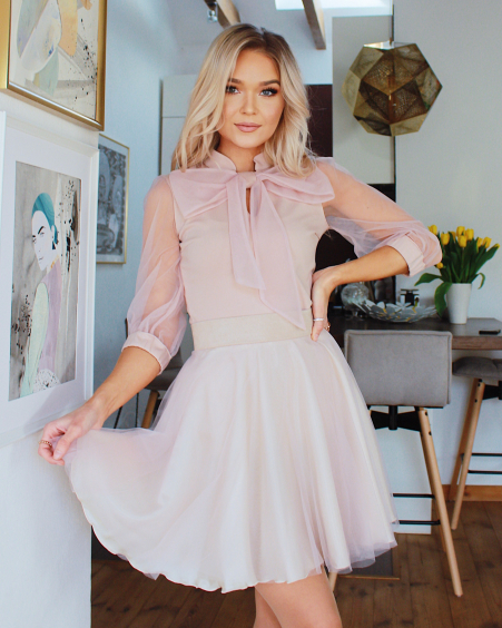 PASTEL PINK BIG BOW MESH BLOUSE