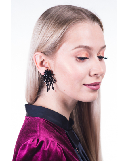 BLACK MEDIUM SPARKLE EARRINGS