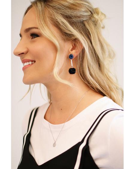 BLUE STONE BLACK FUR EARRINGS