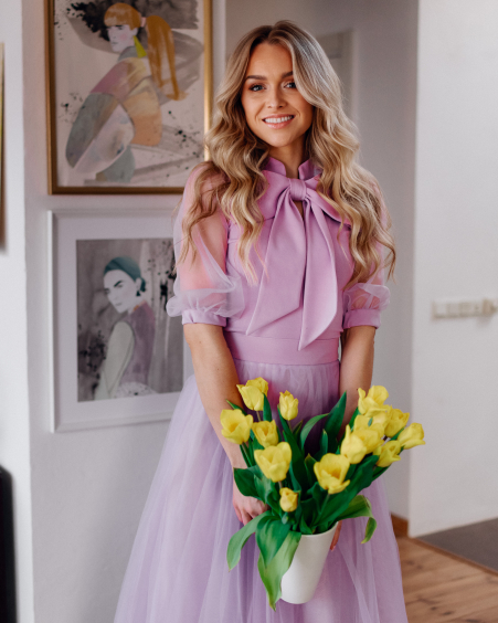 LILAC BIG BOW MESH BLOUSE