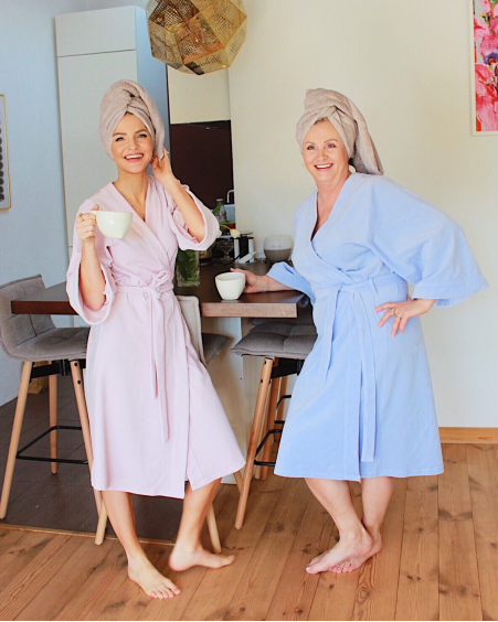LIGHT BLUE VELBET ROBE