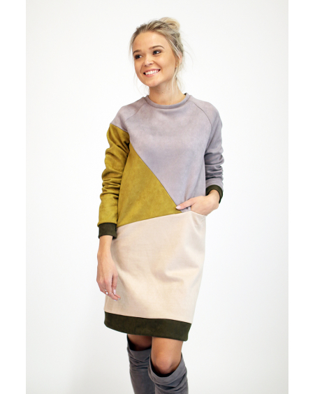 GEOMETRIC SUEDE DRESS
