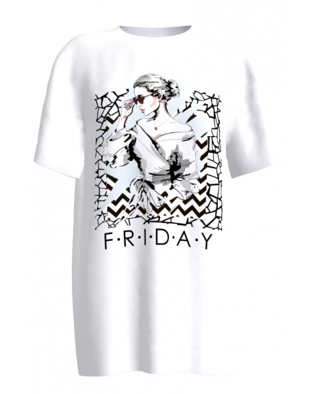 FRIDAY white women's t-shirt
