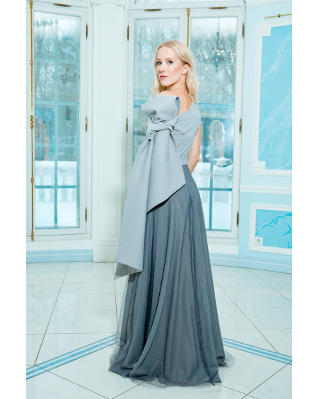 GREY BOW MAXI DRESS