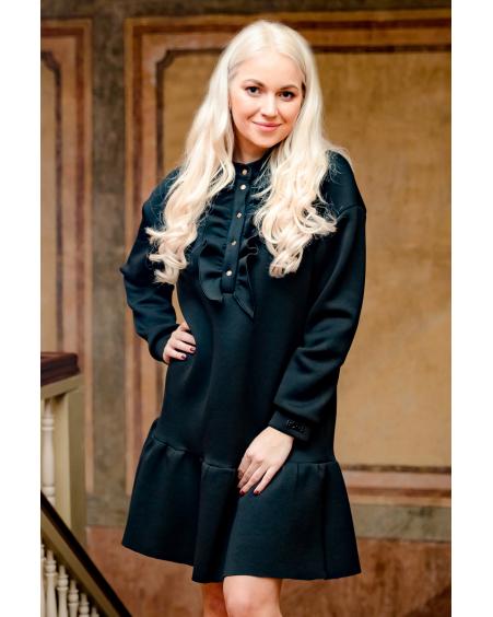 BLACK BLOSSOM RIVETED DRESS
