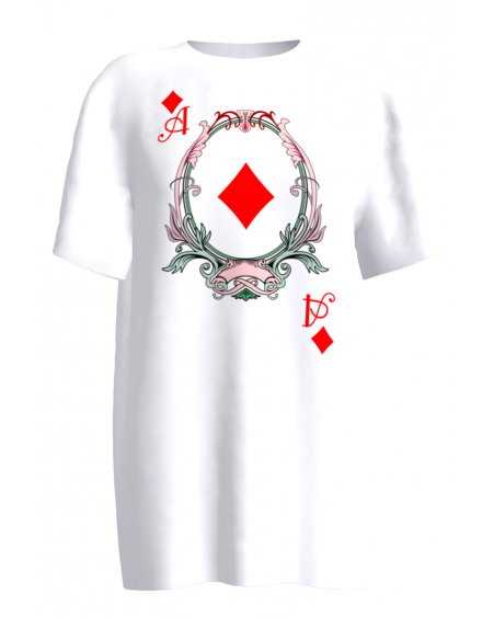 DIAMOND ACE PRINT WHITE T-SHIRT