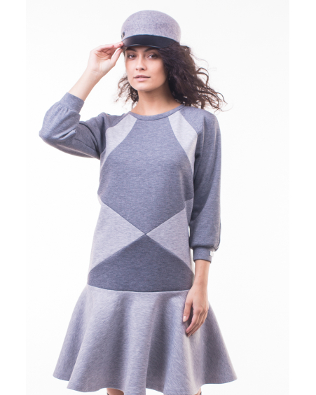 GREY TRIANGLE CIRCLE DRESS