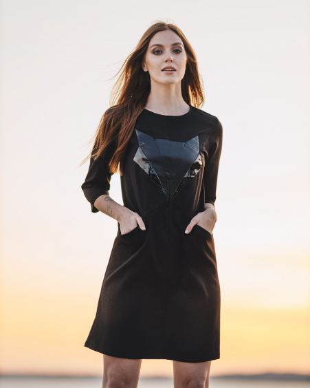 BLACK LEATHER FOX POCKET DRESS