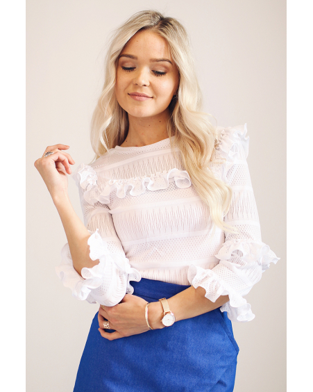 WHITE FRILL LACE BOHO SHIRT