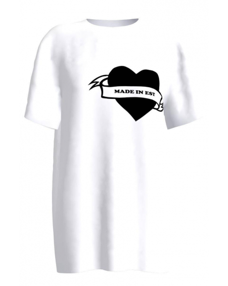 MADE IN EST HEART PRINT T SHIRT