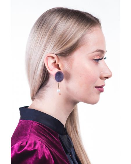 GREY FUR WHITE PEARL EARRINGS