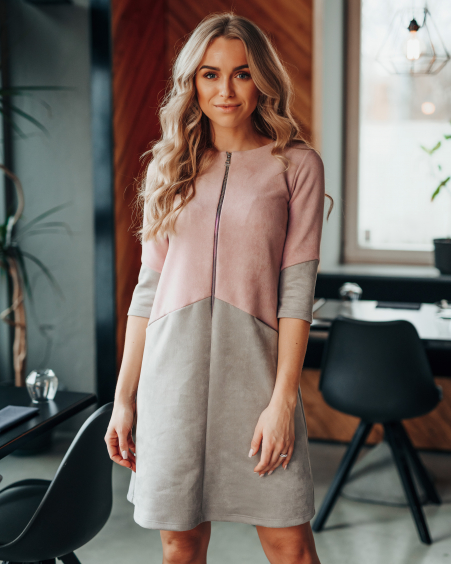 PINK GREY SUEDE ZIPPER DRESS