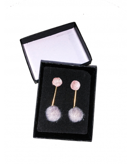 PINK STONE GRAY FUR EARRINGS