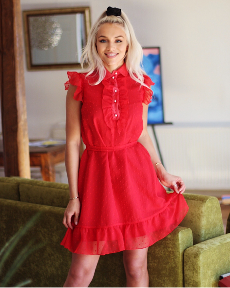 RED FRILL CHIFFON DRESS