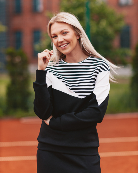BLACK UNISEX STRIPE TRIANGLE SWEATER FOR HER
