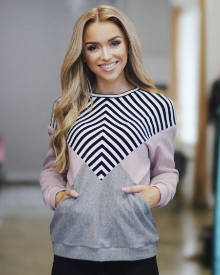 PINK GREY STRIPE TRIANGLE SWEATER