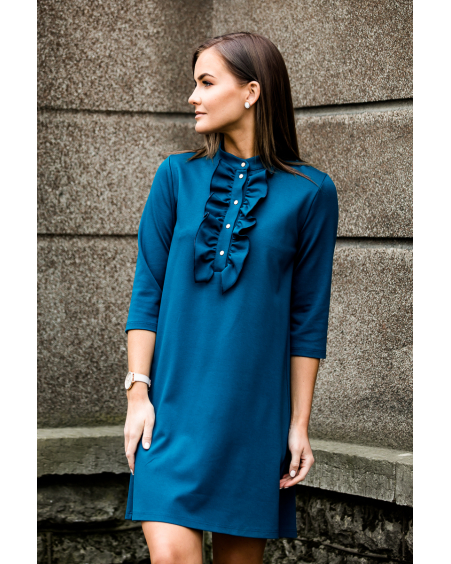 TURQUOISE FRILL LINE DRESS
