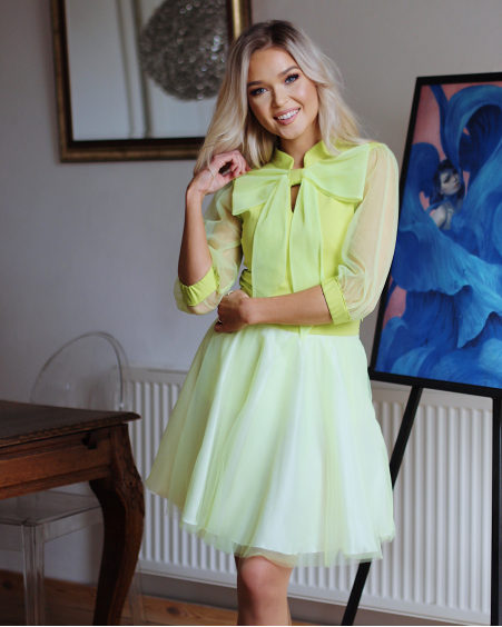 LIME BIG BOW MESH BLOUSE