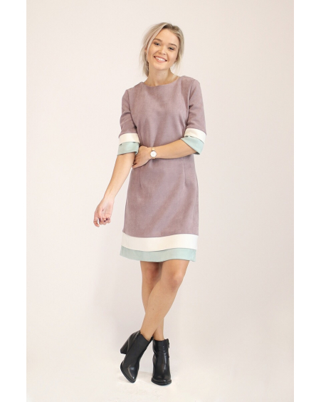 PLUM LAYERCAKE SUEDE DRESS