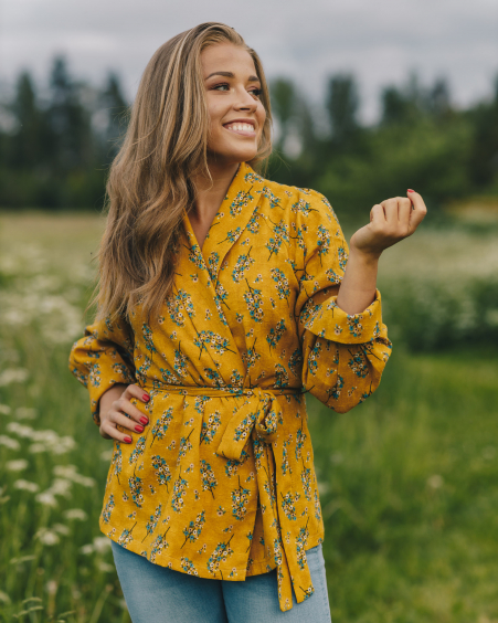YELLOW FLOWER JACKET BLOUSE
