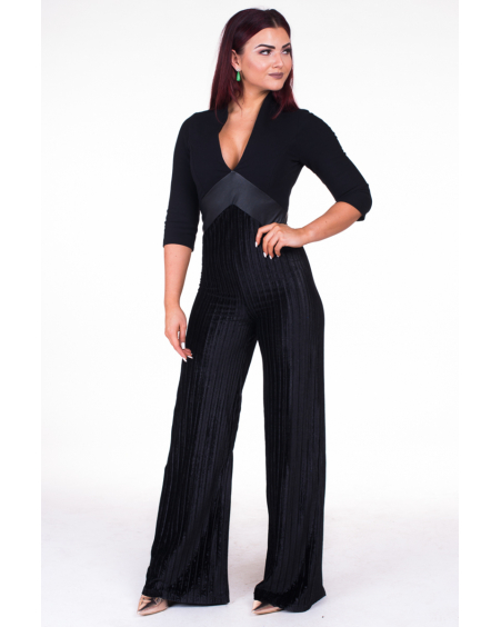 BLACK VELVET V-JUMPSUIT