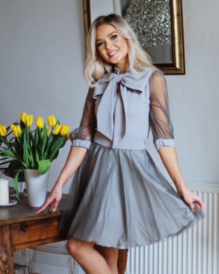 GREY MESH MINI SKIRT