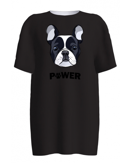 BLACK BULLDOG PRINT T-SHIRT