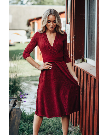 BORDEAUX WAVE ELEGANT DRESS