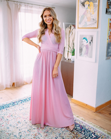 PINK SPARKLING MAXI ELEGANT DRESS