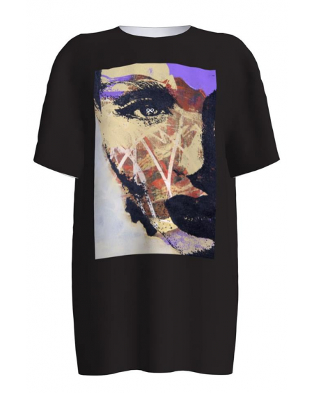 ABSTRACT FACE BLACK PRINT T-SHIRT