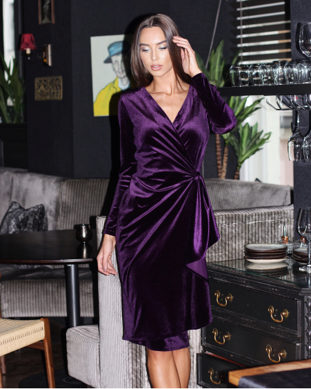 PURPLE VELVET FRILL MIDI DRESS