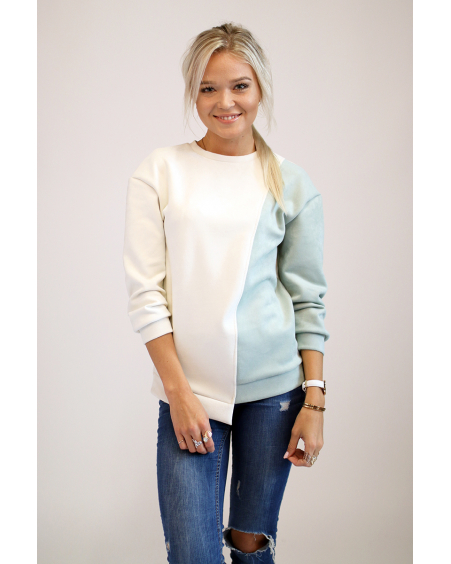 PASTEL DIAGONAL SUEDE SWEATER