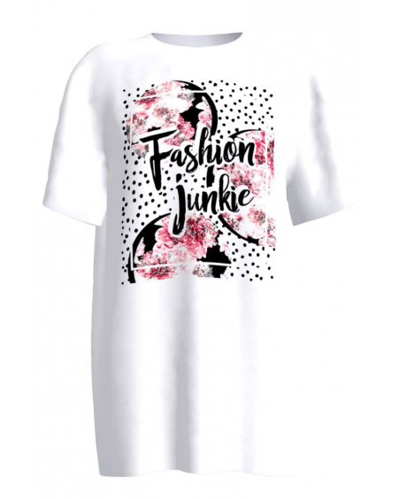 WHITE FASHION JUNKIE PRINT T SHIRT