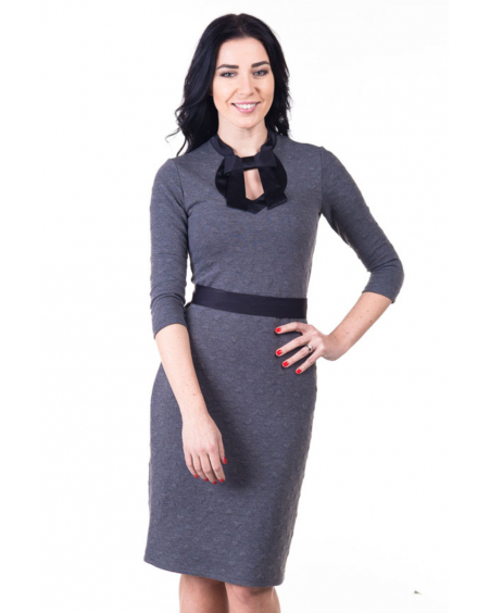 DOLLABLE GREY HEARTED KNIT DRESS
