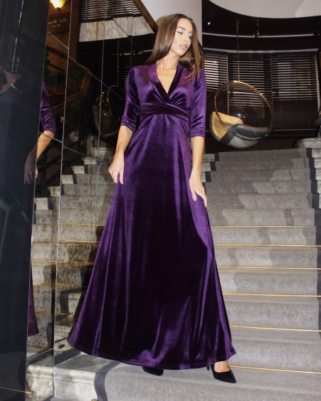 PURPLE ELEGANT VELVET MAXI DRESS