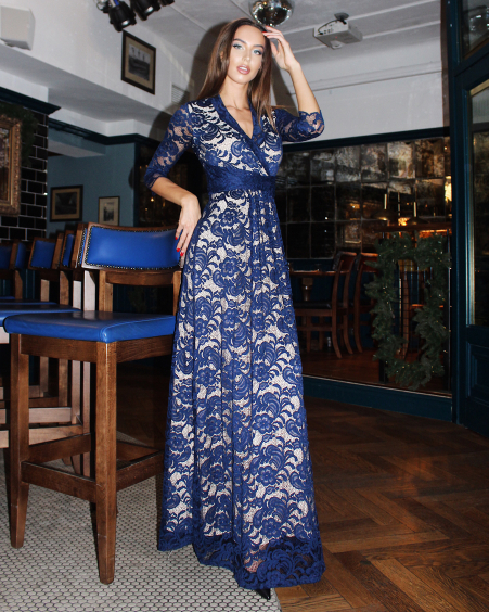 BLUE LACE ELEGANT MAXI DRESS